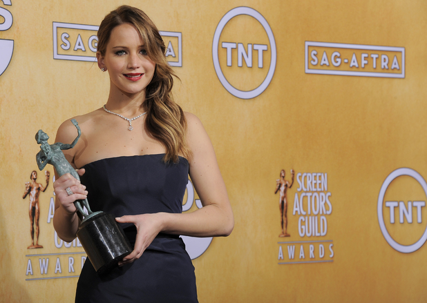 Jennifer Lawrence with her SAG Award for 'Silver Linings Playbook'