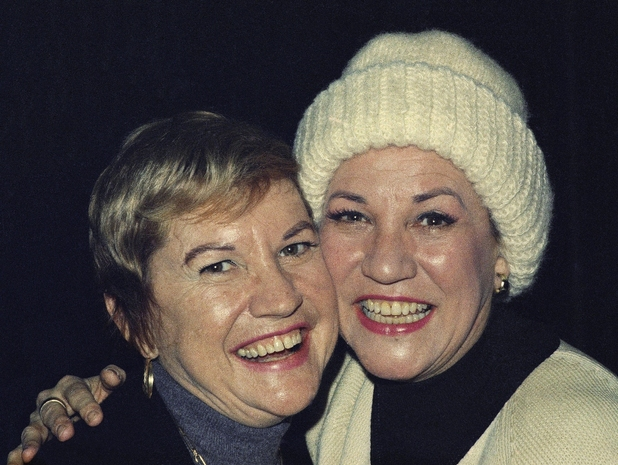 Patty Andrews (right) and Maxene Andrews of The Andrews Sisters, photographed in 1973