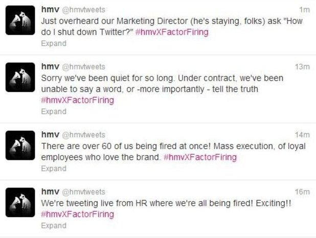 HMV staff hijack official Twitter account - screenshot
