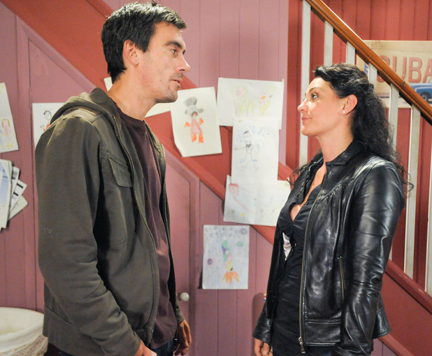 6467: Cain Dingle [JEFF HORDLEY] is stunned when Moira Barton [NATALIE J ROBB] explains it is too much and being with him is not what she wants.