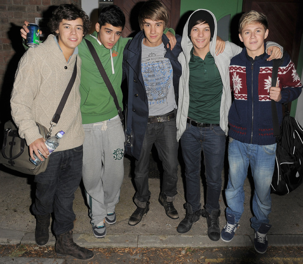 X Factor contestants Harry Styles, Zain Malik, Liam Payne, Louis Tomlinson and Niall Horan from boy band One Direction leaving a studio.