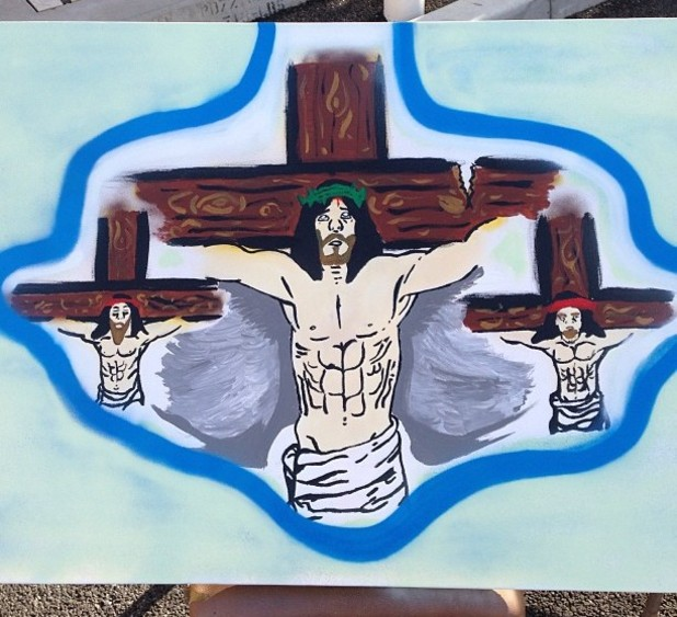 Chris Brown&#39;s Jesus painting