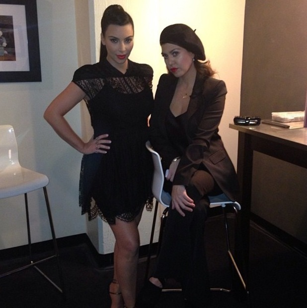 Kim Kardashian and Kourtney Kardashian in a Twitter picture from backstage at Jimmy Kimmel