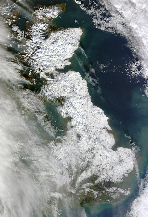 NASA satellite image showing Britain from above during the snow