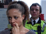 8057: Kirsty Soames [NATALIE GUMEDE] is horrified to find Ruby has gone missing from the Websters and sets off in frantic search of her daughter. Convinced that Tyrone's snatched Ruby, Kirsty barges into Tina's flat demanding to know where they are. Will she catch up with Tyrone before he leaves the street for good?