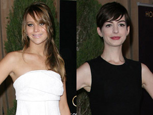 Jennifer Lawrence and Anne Hathaway at Oscars luncheon - 4 Feb 2013 0- REVEAL USE ONLY