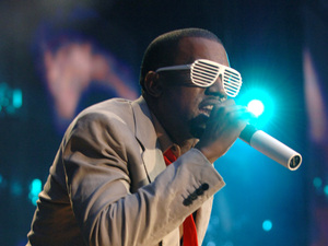 Kanye West wearing his trend-setting Stronger shades