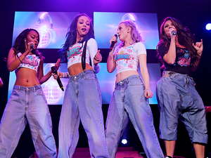 Little Mix performing live on stage at the Liverpool Echo Arena