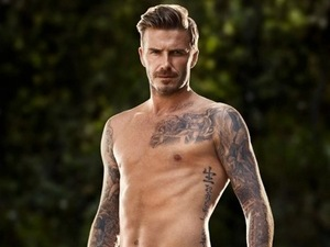 David Beckham models his H&M underwear.