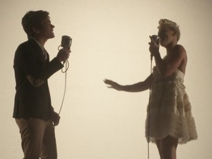 Pink and fun.&#39;s Nate Ruess in &#39;Just Give Me A Reason&#39; music video.