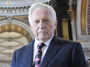 Question Time host David Dimbleby at St Paul's Cathedral