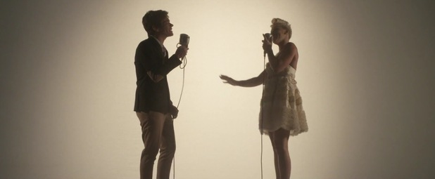 Pink and fun.'s Nate Ruess in 'Just Give Me A Reason' music video.