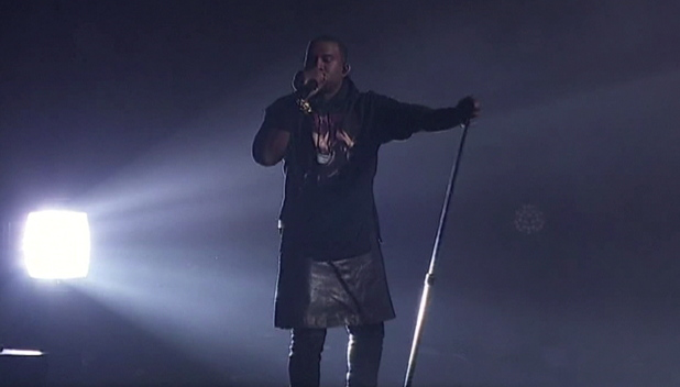 Kanye West performs at  The Hurricane Sandy Relief 12.12.12 Concert held at Madison Square Garden