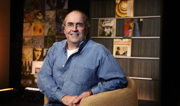 Danny Baker on the set of his new show 'Danny Baker's Great Album Showdown'