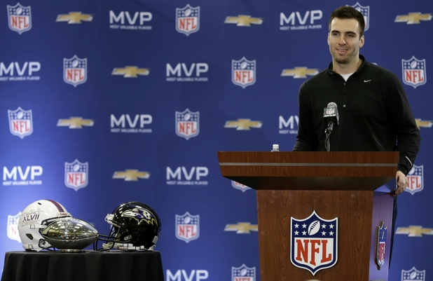 Baltimore Ravens quarterback Joe Flacco speaks during a news conference after NFL Super Bowl XLVII football game Monday, Feb. 4, 2013, in New Orleans.