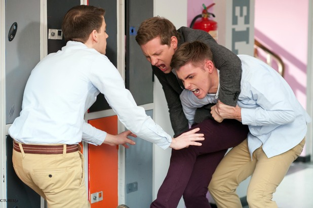 John-Paul and Ste start fighting.