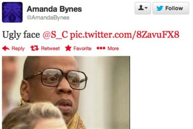 Amanda Bynes tweet calling Jay-Z ugly 