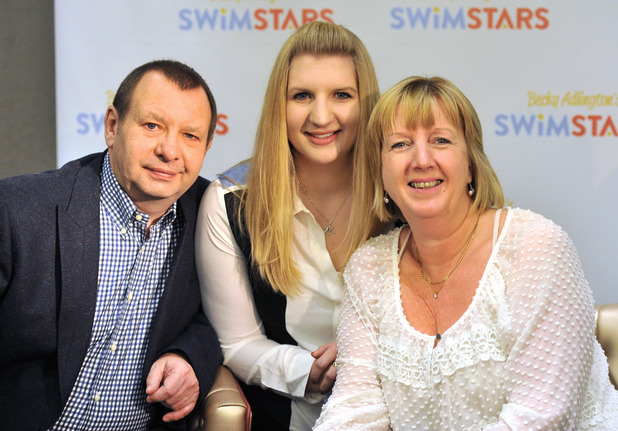 Rebecca Adlington announces her retirement from competitive swimming during a press conference held at the InterContinental Westminster Featuring: Rebecca Adlington,Parents,Steve Adlington,Kay Adlington Where: London, United Kingdom
