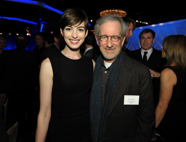 Anne Hathaway and Steven Spielberg