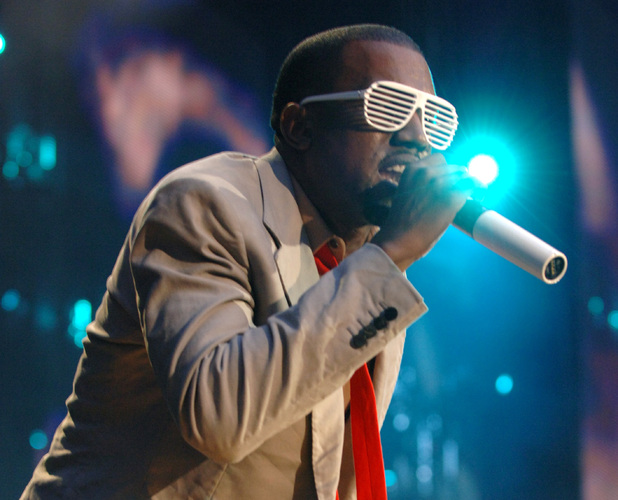 Kanye West wearing his trend-setting Stronger shades 1 Jul 2007