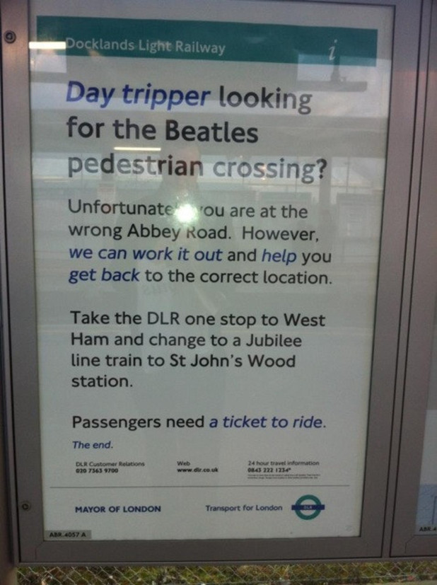 London's Abbey Road Station confuses Beatles fans