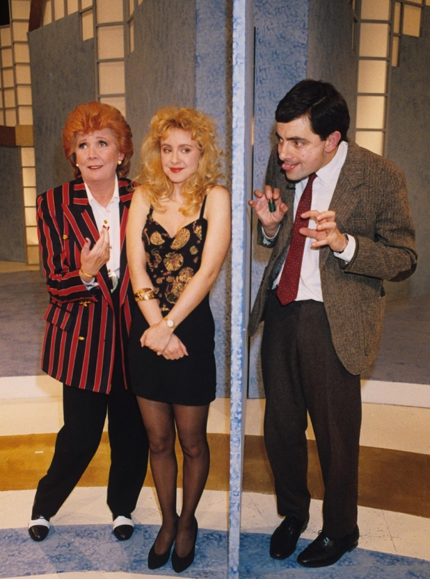 Cilla Black, Barbara Churkin and Rowan Atkinson