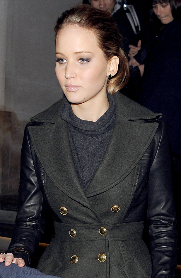 Jennifer Lawrence leaving her hotel in London.