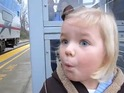 A 3-year-old's adorable reaction to her very first train ride goes viral.