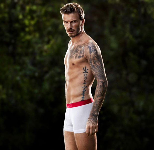 David Beckham poses in H&M underwear