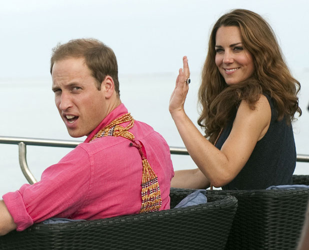 The Duke and Duchess of Cambridge arrive in Marau, Guadacanal Province on their way to Tivanipupu during a visit to the Solomon Islands, on a nine-day royal tour of the Far East and South Pacific in honour of the Queen's Diamond Jubilee.