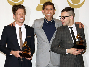 Nate Ruess, Andrew Dost and Jack Antonoff of the band fun. pose backstage with the song of the year award for 'We Are Young' at the 55th Annual Grammy Awards