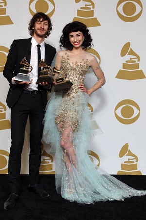 Gotye and Kimbra with their Grammy Awards - February 10, 2013