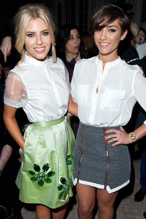 Mollie King and Frankie Sandford on the front row at Moschino Cheap and Chic show.