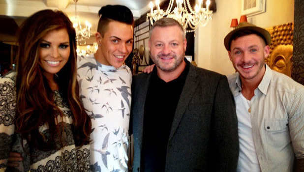 Jessica Wright, Bobby Norris, Mick Norcross and Kirk Norcross on the first day of filming for TOWIE series 8 - 15 February 2013