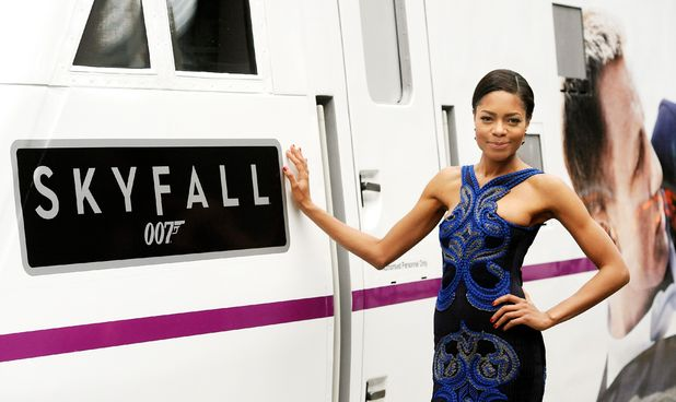 Naomie Harris poses with The Skyfall train.