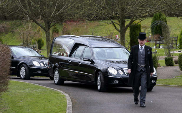 The Hearse arrives at the funeral of Troggs frontman Reg Presley held at Basingstoke Crematorium, Hampshire