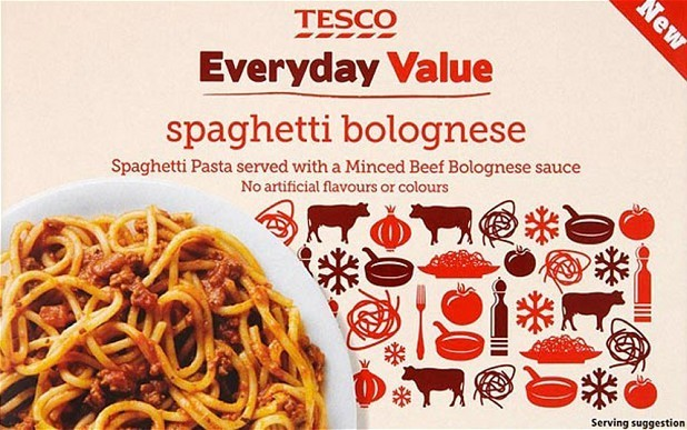 Tesco Everyday Value Spaghetti Bolognese packet