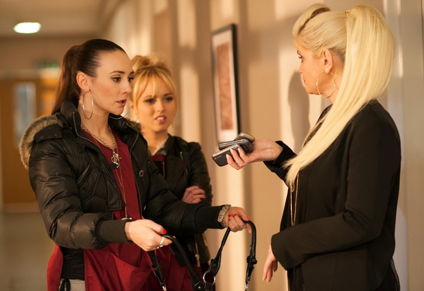 Jacqui and Theresa are shocked when Trudy finds three stolen mobiles in her bag.