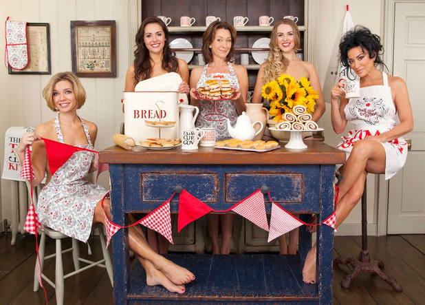 Rachel Riley, Nancy Dell'Olio, Zoe Salmon, Cherie Lunghi and Kelsey Beth Crossley in a Red Nose Day Tea Party photoshoot