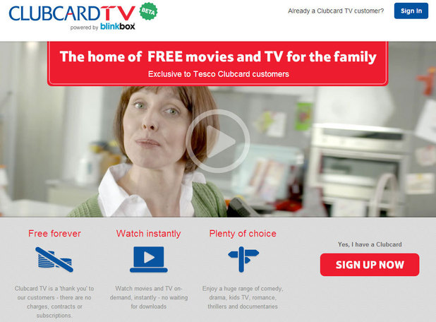 Clubcard TV homepage
