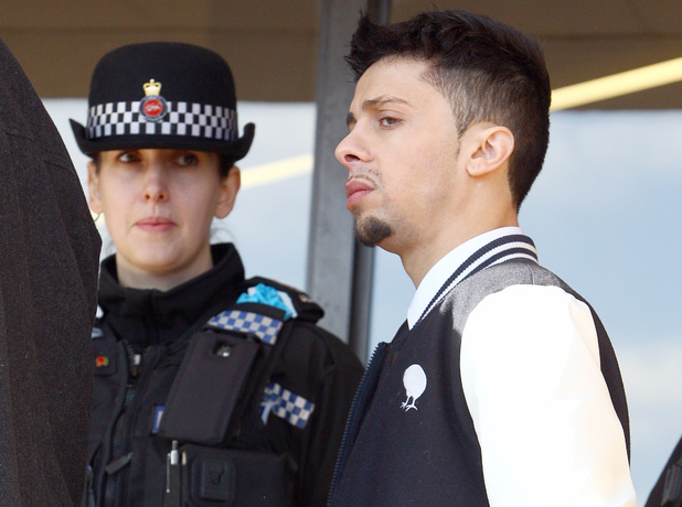 Dappy aka Costadinos Contostavlos arrives at Guildford Crown Court to be sentenced for charges of Afray