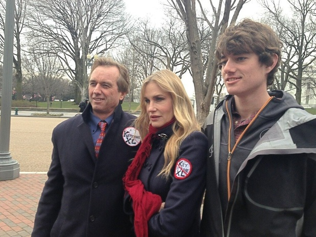 Robert F Kennedy Jr, Daryl Hannah and Conor Kennedy at climate change protest