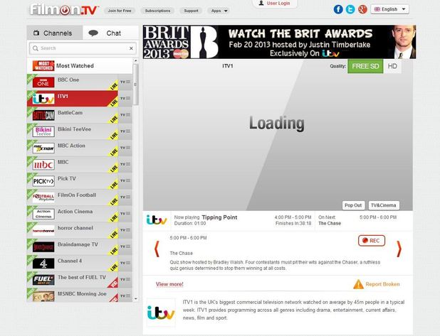 FilmOn TV screenshot