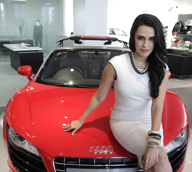 Neha Dhupia poses with an Audi R8 Spyder car - November 26, 2012