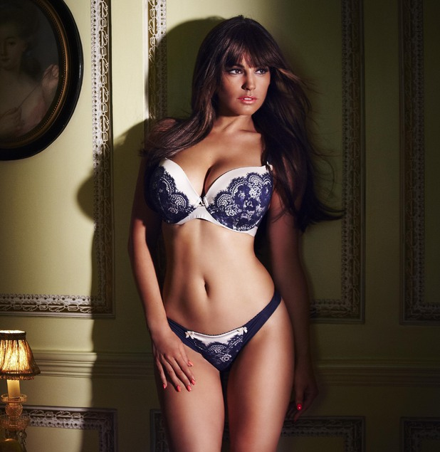 Kelly Brook models Valentine's lingerie for New Look.