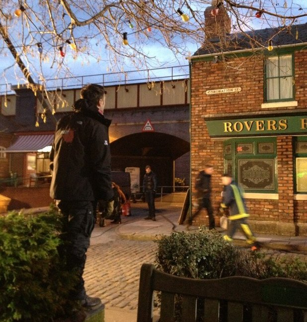 Corrie's SFX Supervisor, Danny Hargreaves, setting up for the Rovers fire