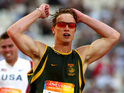 Oscar Pistorious, South Africa&#39;s Oscar Pistorius races ahead to win the Men&#39;s T44 200 metres final, Athens Athens Paralympic Games 2004