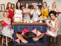Stars hide their modesty behind flowers and aprons in new Comic Relief pictures.