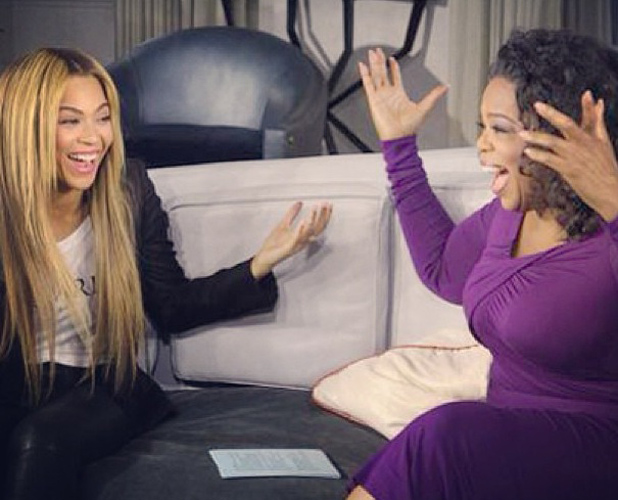 Beyoncé and Oprah share a joke during her interview