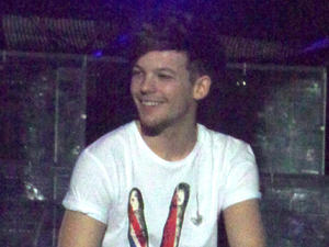 Louis Tomlinson smiles at the crowd.
